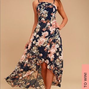 Lulu's Floral Asymmetrical Neck High Low Dress
